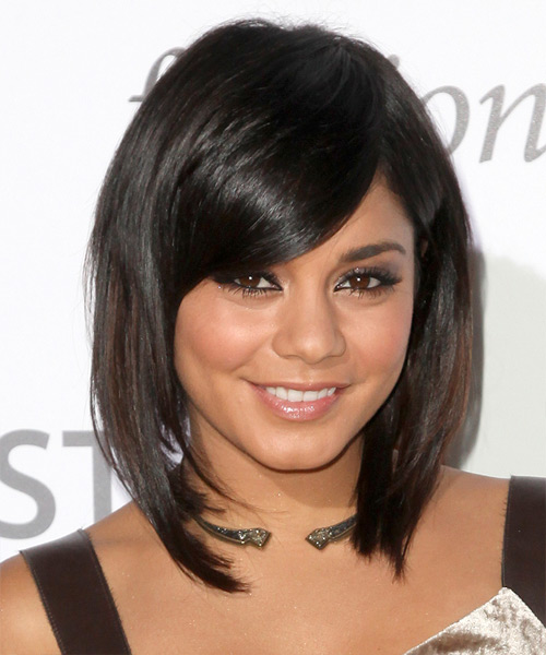 Vanessa Hudgens Medium Straight Formal Layered Bob  Hairstyle with Side Swept Bangs  - Black  Hair Color