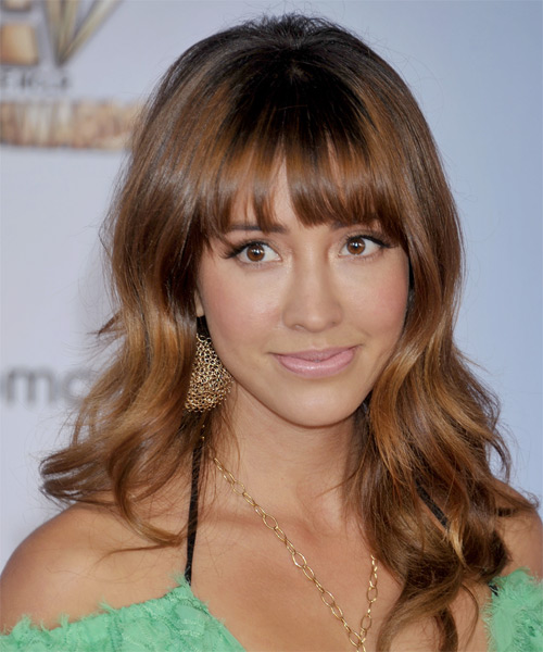 Fernanda Romero Long Wavy Casual   Hairstyle with Blunt Cut Bangs  - Medium Brunette (Auburn)