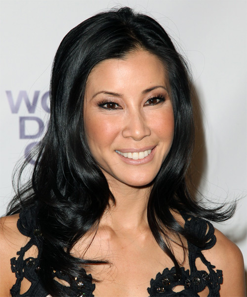 Lisa Ling  Long Straight Formal   Hairstyle   - Black