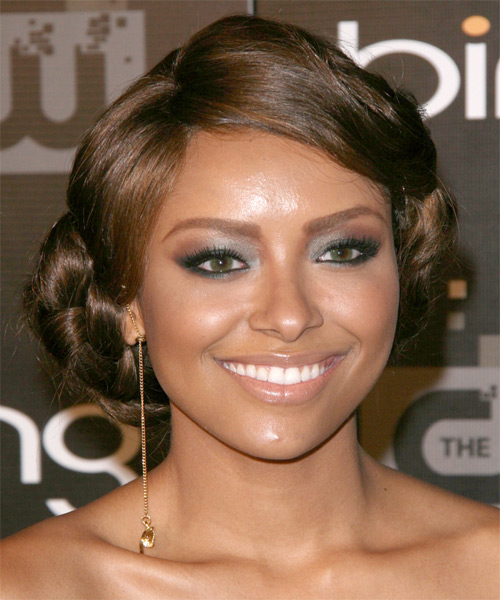 Kat Graham Formal Chestnut Brunette Braided Updo Hairstyle