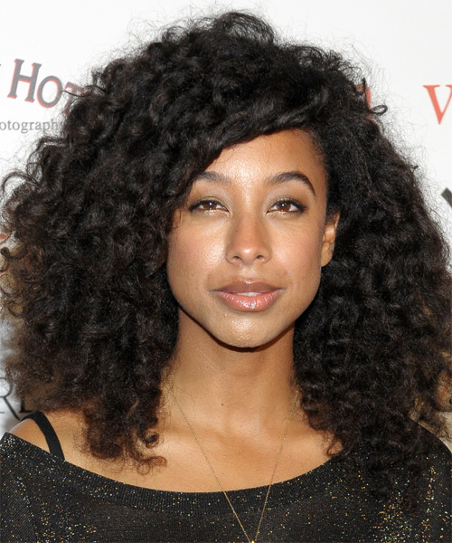 Corinne Bailey Rae Medium Curly   Black    Hairstyle