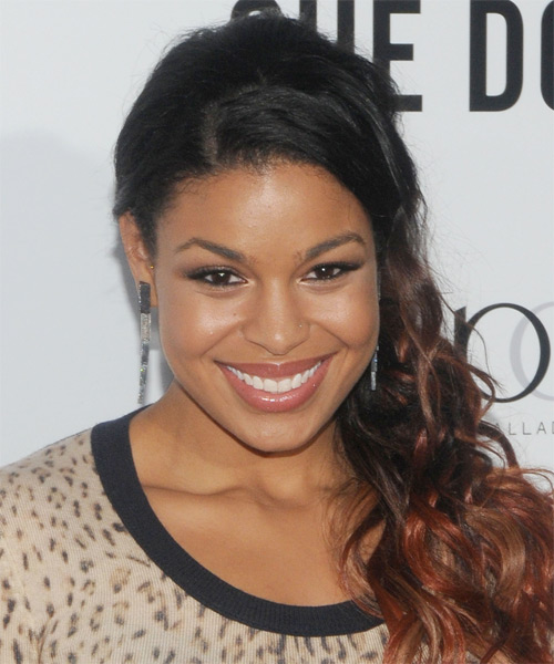 Jordin Sparks  Long Curly Casual   Half Up Hairstyle   - Black  and  Red Two-Tone Hair Color