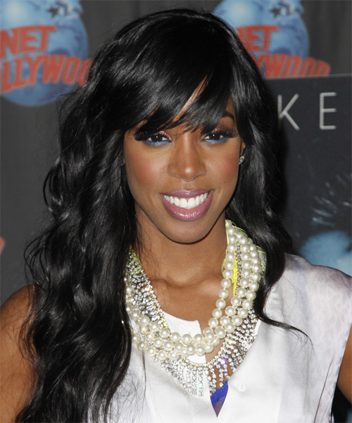 Kelly Rowland Long Wavy Casual   Hairstyle with Side Swept Bangs  - Black