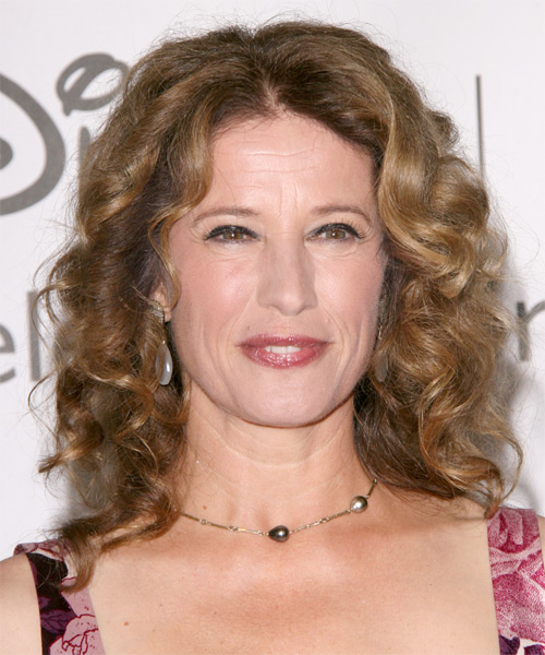 Nancy Travis Medium Curly Casual    Hairstyle   - Dark Caramel Blonde Hair Color with  Blonde Highlights