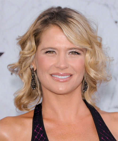 Kristy Swanson Short Wavy Formal   Hairstyle with Side Swept Bangs  - Medium Blonde (Honey)