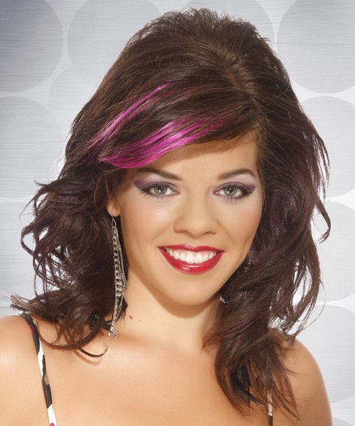 Medium Wavy    Chocolate Brunette   Hairstyle   with Pink Highlights