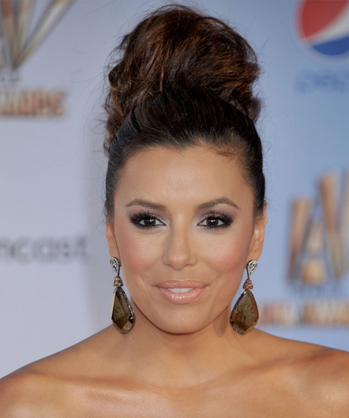 Eva Longoria Updo hairstyle with Messy Top Knot