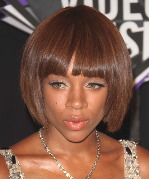 Lil Mama Medium Straight    Auburn Brunette Bob  Haircut with Blunt Cut Bangs