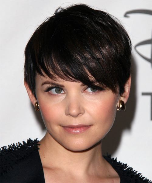Ginnifer Goodwin Short Straight Formal   Hairstyle with Side Swept Bangs  - Dark Brunette (Mocha)