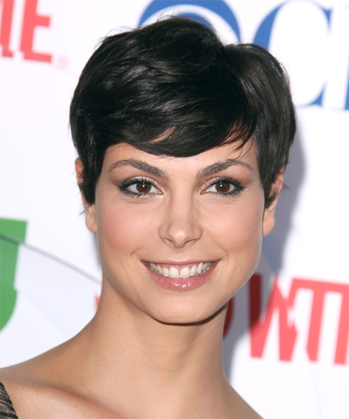 Morena Baccarin Short Straight Formal   Hairstyle with Side Swept Bangs  - Black