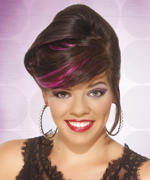 Long Straight Formal   Updo Hairstyle with Side Swept Bangs  -  Chocolate Brunette Hair Color with Pink Highlights