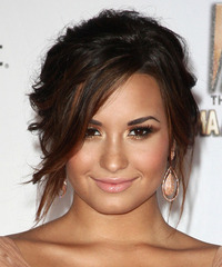 Demi Lovato  Long Curly   Dark Mocha Brunette  Updo  with Side Swept Bangs  and  Red Highlights