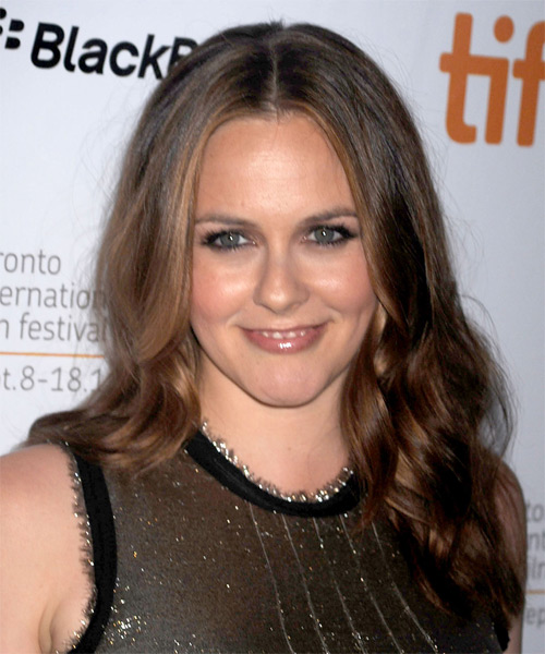 Alicia Silverstone Long Wavy Formal    Hairstyle   - Medium Brunette Hair Color