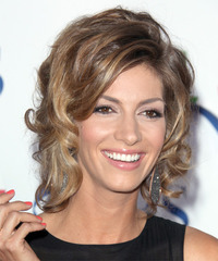 Dawn Olivieri Short Curly    Chestnut Brunette   Hairstyle   with  Blonde Highlights