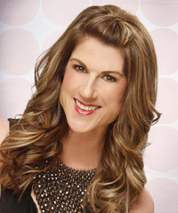 Long Curly Formal   Half Up Hairstyle   - Light Caramel Brunette Hair Color with Light Blonde Highlights