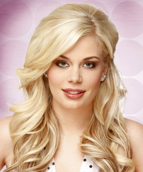 Long Wavy Formal   Hairstyle with Side Swept Bangs  - Light Blonde (Champagne)