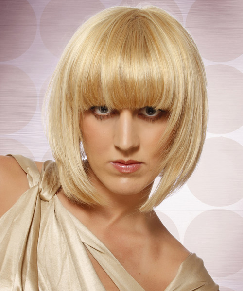 Medium Straight Formal Layered Bob  Hairstyle with Blunt Cut Bangs  - Light Honey Blonde Hair Color with Light Blonde Highlights