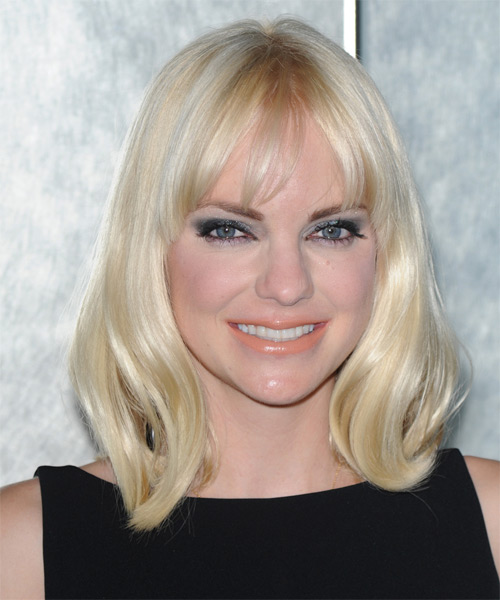 Anna Faris Medium Straight Casual Bob  Hairstyle with Layered Bangs  - Light Blonde