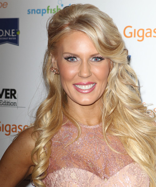 Gretchen Rossi Half Up Long Curly Formal  Half Up Hairstyle with Side Swept Bangs  - Light Blonde (Platinum)