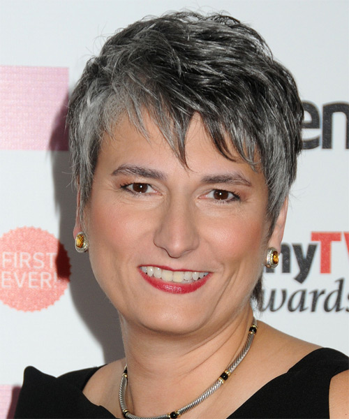 Diana Salvatore Short Straight Formal Hairstyle with Side Swept Bangs - Dark Salt and Pepper Grey Hair Color