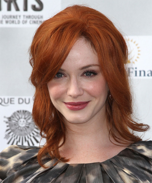 Christina Hendricks  Long Straight Casual   Half Up Hairstyle with Side Swept Bangs  - Medium Copper Red Hair Color