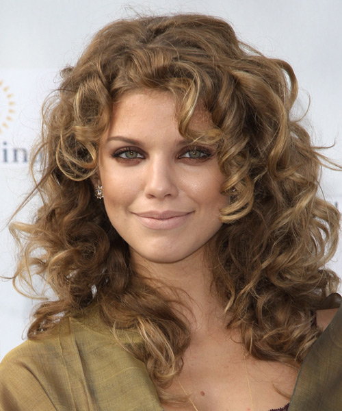 AnnaLynne McCord Long Curly Casual    Hairstyle with Side Swept Bangs  - Light Ash Brunette Hair Color