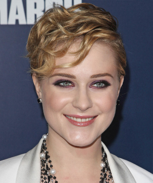Evan Rachel Wood Short Wavy Formal   Hairstyle with Side Swept Bangs  - Dark Blonde (Honey)