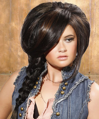 Long Curly   Dark Mocha Brunette Braided Updo  with Side Swept Bangs  and Dark Brunette Highlights