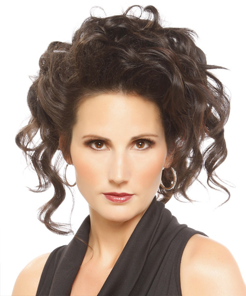 Medium Curly Formal   Updo Hairstyle   - Dark Brunette Hair Color
