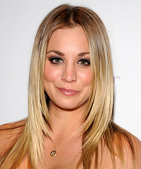 Kaley Cuoco Long Straight    Blonde   Hairstyle   with Light Blonde Highlights