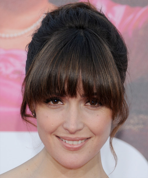 Rose Byrne  Long Straight Formal   Updo Hairstyle with Blunt Cut Bangs  - Dark Brunette Hair Color