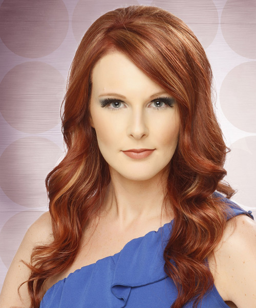 Long Wavy Formal    Hairstyle with Side Swept Bangs  -  Copper Red Hair Color with  Blonde Highlights