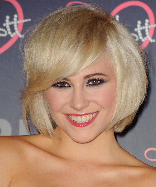 Pixie Lott Medium Straight Formal Bob  Hairstyle with Side Swept Bangs  - Light Blonde