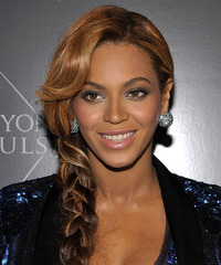 Beyonce Knowles  Long Curly Casual  Braided Updo Hairstyle with Side Swept Bangs  - Dark Brunette Hair Color with Light Brunette Highlights