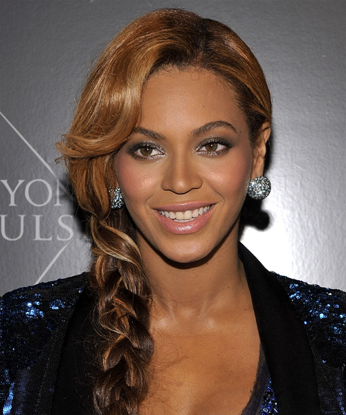 Beyonce Knowles Updo Long Curly Casual Braided Updo Hairstyle with Side Swept Bangs  - Dark Brunette
