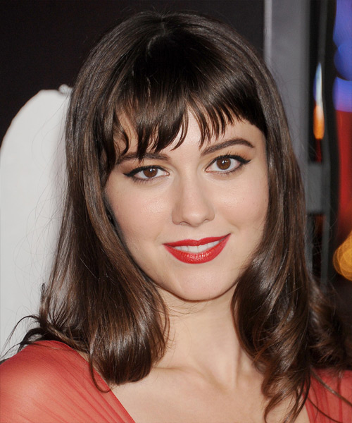 Mary Elizabeth Winstead Long Wavy Formal   Hairstyle with Layered Bangs  - Medium Brunette (Chocolate)