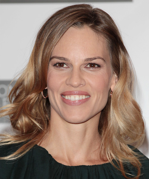 Hilary Swank Medium Wavy Casual    Hairstyle   - Light Caramel Brunette Hair Color with  Blonde Highlights