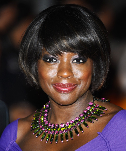Viola Davis Short Straight Formal Bob  Hairstyle with Side Swept Bangs  - Black