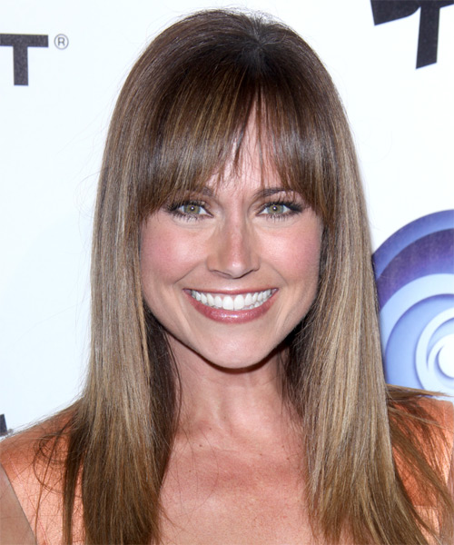 Nikki Deloach Long Straight Formal   Hairstyle with Blunt Cut Bangs  - Light Brunette (Ash)