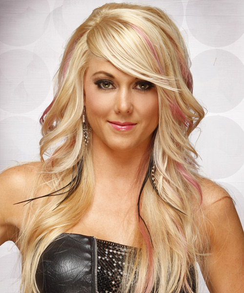 Long Straight Formal   Hairstyle with Side Swept Bangs  - Light Blonde (Champagne)