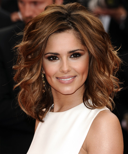 Cheryl Cole Medium Wavy    Auburn Brunette   Hairstyle   with Dark Blonde Highlights
