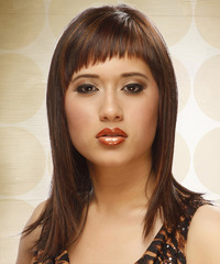 Long Straight Alternative    Hairstyle with Asymmetrical Bangs  -  Chocolate Brunette Hair Color with  Red Highlights
