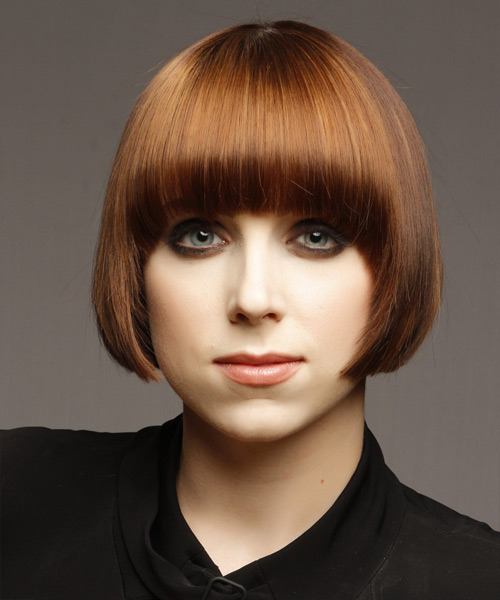 Short Straight    Copper Brunette   Hairstyle with Blunt Cut Bangs  and Dark Blonde Highlights