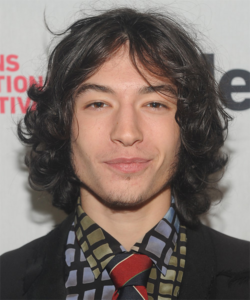 Ezra Miller Medium Wavy Casual    Hairstyle   - Dark Brunette Hair Color