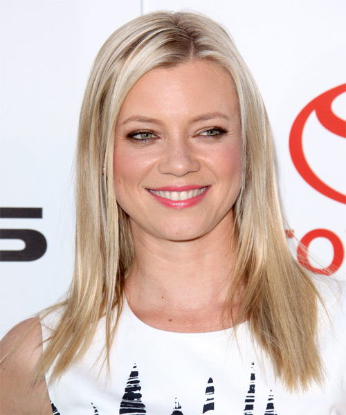 Amy Smart Long Straight Casual   Hairstyle   - Light Blonde (Champagne)