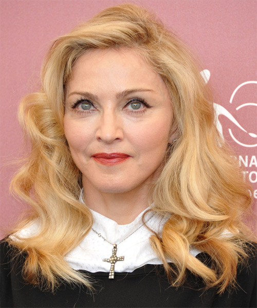 Madonna Long Wavy Casual Hairstyle Light Blonde Honey