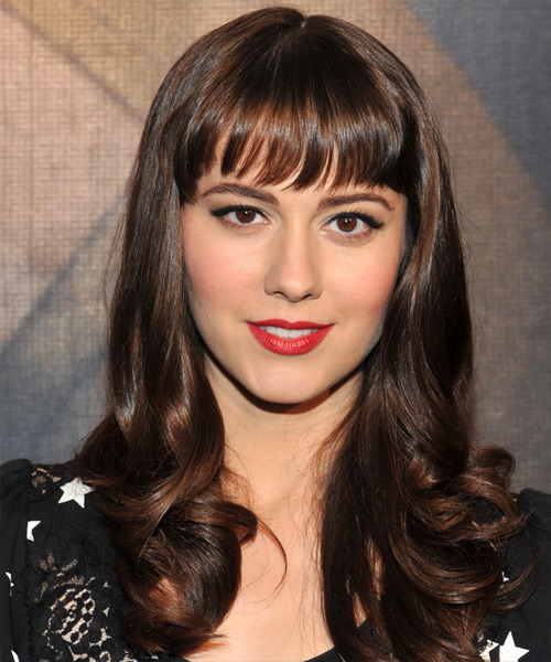 Mary Elizabeth Winstead Long Wavy Formal   Hairstyle with Blunt Cut Bangs  - Dark Brunette (Mocha)