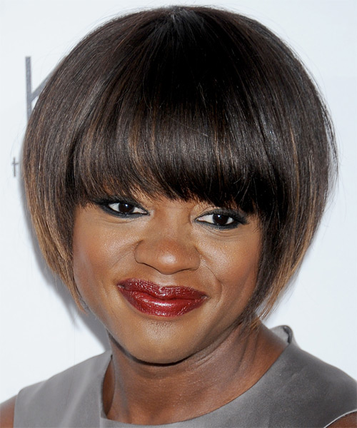 Viola Davis Short Straight Layered  Dark Chocolate Brunette Bob  Haircut with Blunt Cut Bangs