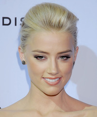 Amber Heard  Long Straight Formal   Updo Hairstyle   - Light Blonde Hair Color