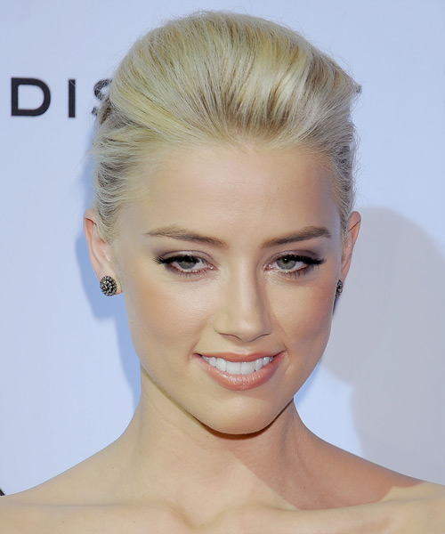 Amber Heard Updo Long Straight Formal Wedding Updo Hairstyle   - Light Blonde